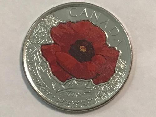 Канада, 25 центов 2015 года, красный мак