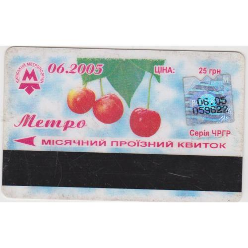 билет проездной Киев пластик 2005-3