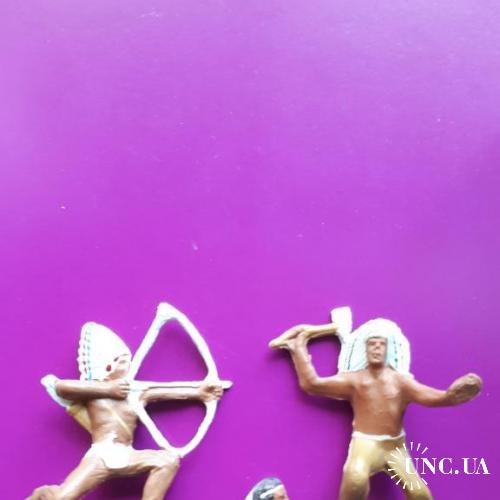 ИНДЕЙЦЫ! ТРИ фигурки из польского набора фигурок №8. 1970-е годы! RARE!!! Идеальное новое состояние!