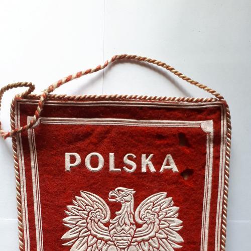 Вымпел Польши (без короны). Polska (Польская Народная республика) 195 х 140 мм. без кисточки.