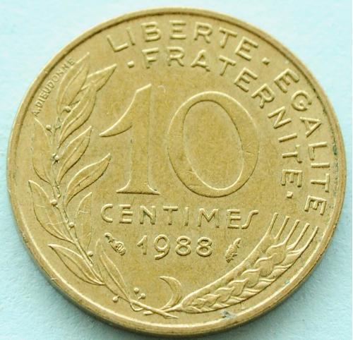 (А) Франция 10 сантимов 1988