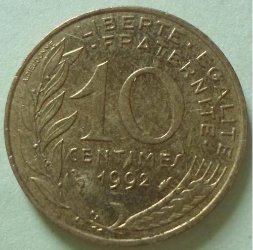 (А) Франция 10 сантимов 1992