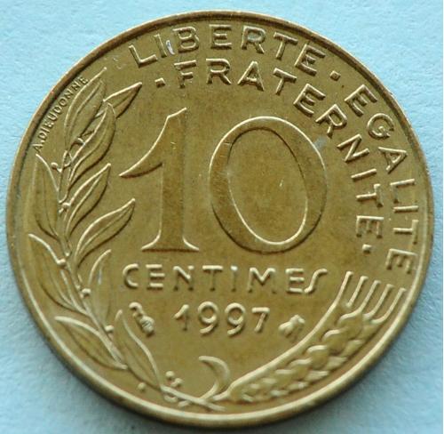 (А) Франция 10 сантимов 1997