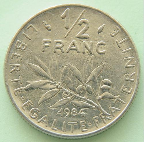 (А) Франция ½ франка 1984