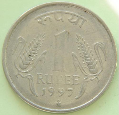 """(А) Индия 1 рупия 1997 Отметка монетного двора: """"Mo"""" - Мехико"""