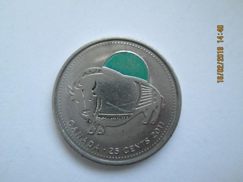 Канадська монета номіналом 25 центів.
