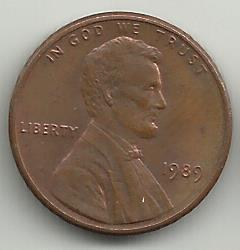 монета 1 цент США  1989