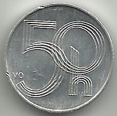 монета   Чехии  50 геллеров  2005