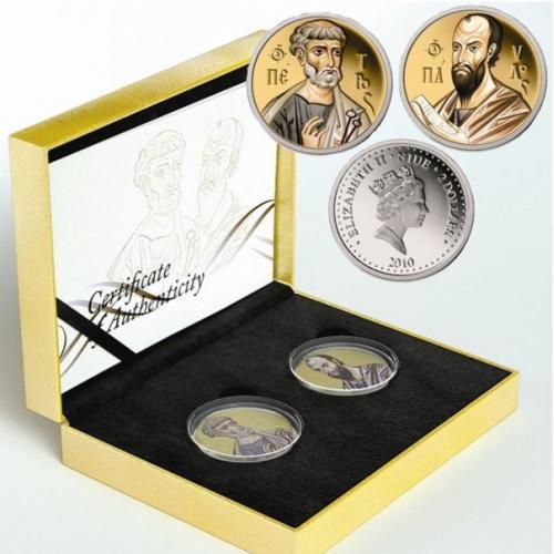 Набор серебряных монет с позолотой  Святые апостолы Петр и Павел