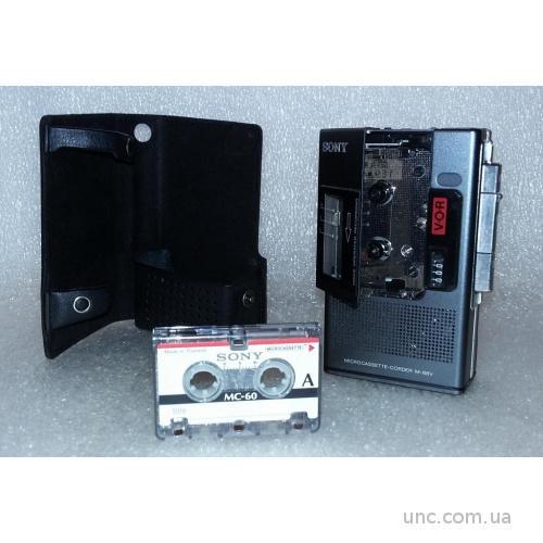 Sony M-88V microcassette-corder. Made in Japan. Чехол кожа.