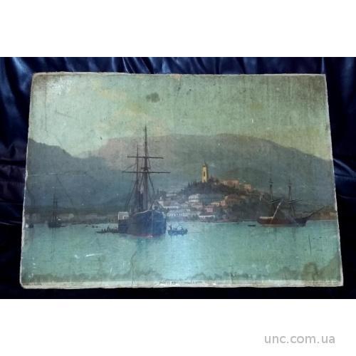 Ялта с моря Лагорио Л.Ф. 1883 г. Издание Каспари.