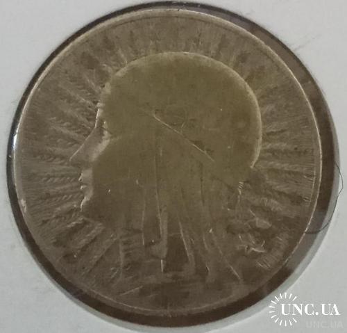 5 злотих 1932 польша ядвига Серебро