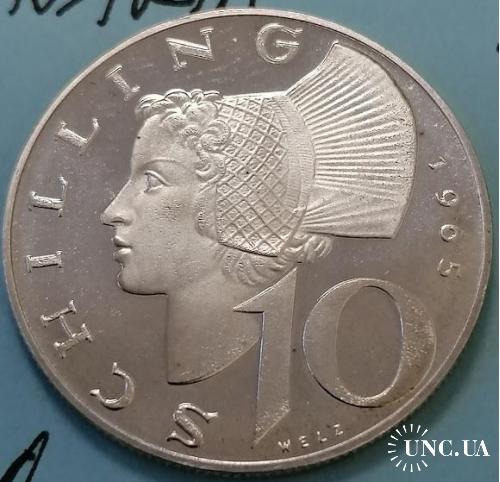 Австрия 10 шиллингов, 1965 год (Серебро) редкая pruf