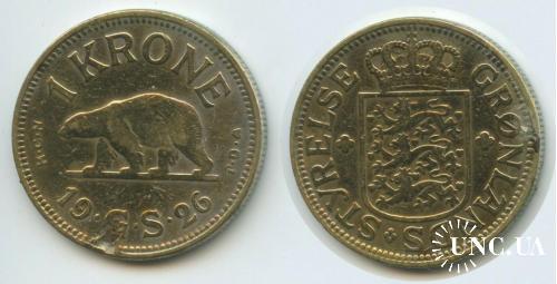 Гренландия датская колония 1 крона 1926 г.