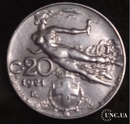 Италия 1921 20 чентезимо