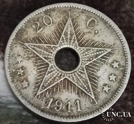 Конго бельгийское 20 центов 1911