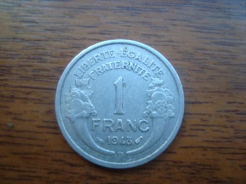 1 франк 1943 ФРАНЦІЯ = НІМЕЦЬКА ОКУПАЦІЯ