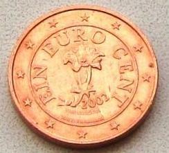 1 євроцент 2002 АВСТРІЯ  = СОХРАН =