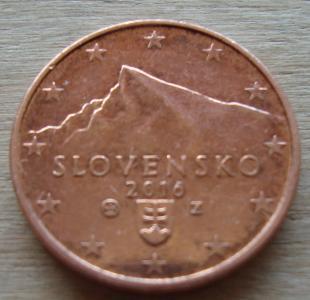 1 євроцент 2016 СЛОВАЧЧИНА