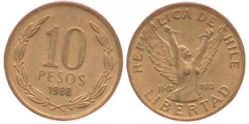 10 песо 1988 ЧИЛІ = мала = ЮБІЛЕЙКА