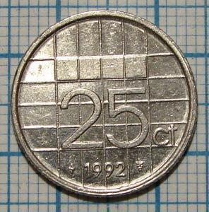 25 центів 1992 НІДЕРЛАНДИ