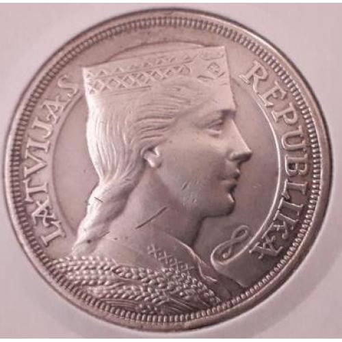 +++5 лат 1929 ЛАТВІЯ = СЕРЕБРО