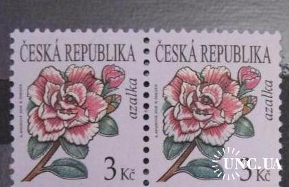 Чехія. Зчіпка 6 марок. Азалія, цикламен, UNC.