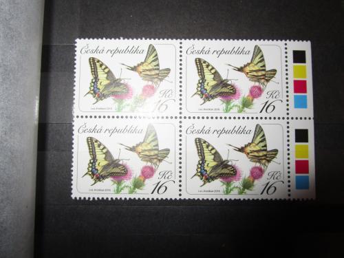 """Чехія. Зчіпка 4 марок """"Метелики; Й. і Л. Кратохвіл"""", 2016, UNC."""