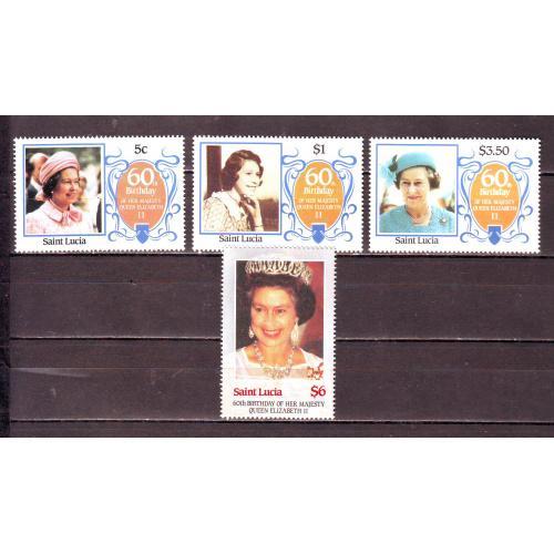 Сант-Люсия**. 1986г. Королева Елизавета-II
