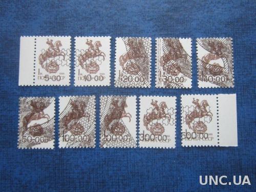 10 старинных марок полная серия Россия провизорий Биробиджан на 1 коп MNH №1