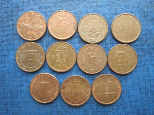 11 монет по 1 евроценту все страны разные одним лотом отличный старт коллекции