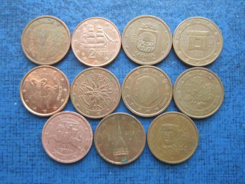 11 монет по 2 евроцента все страны разные одним лотом хорошее начало коллекции