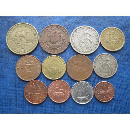 12 монет Европы корабли флот одним лотом хорошее начало коллекции