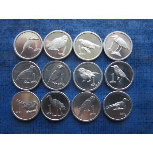 12 монет полный набор по 1 сене Самоа 2020 фауна птицы состояние UNC