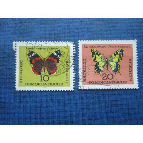 2 марки Германия ГДР 1964 фауна бабочки гаш