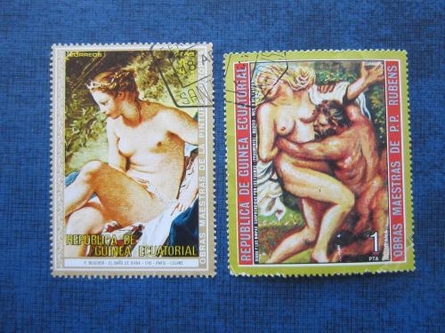 2 марки Гвинея Экваториальная живопись европейская НЮ гаш