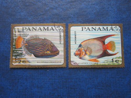 2 марки Панама фауна рыбы гаш