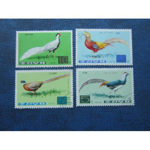 4 марки Северная Корея КНДР 1976 фауна птицы фазаны гаш