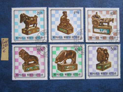 6 марок Монголия 1981 спорт шахматы шахматные фигуры гаш