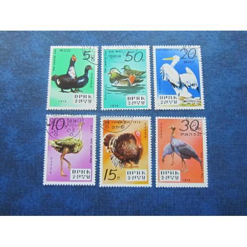 6 марок Северная Корея КНДР 1979 фауна птицы гаш
