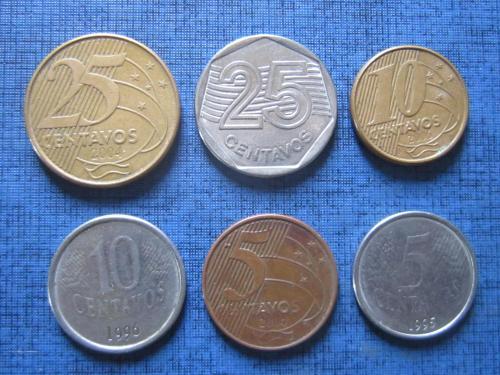 6 монет Бразилия разные одним лотом