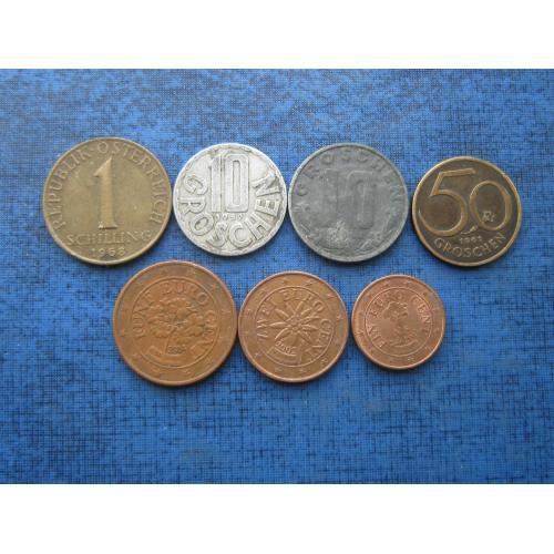 7 монет Австрия разные одним лотом хорошее начало коллекции