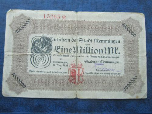 Банкнота 1 миллион марок Германия 1923 гросгельд Мемминген Бавария