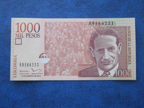 Банкнота 1000 песо Колумбия 2015 UNC пресс