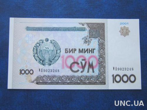 банкнота 1000 сум Узбекистан 2001 UNC пресс