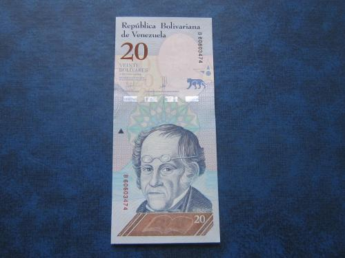 Банкнота 20 боливаров Венесуэла 2018 фауна ягуар UNC пресс