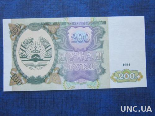 банкнота 200 рублей Таджикистан 1994 UNC пресс