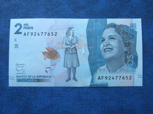 Банкнота 2000 песо Колумбия 2016 UNC пресс
