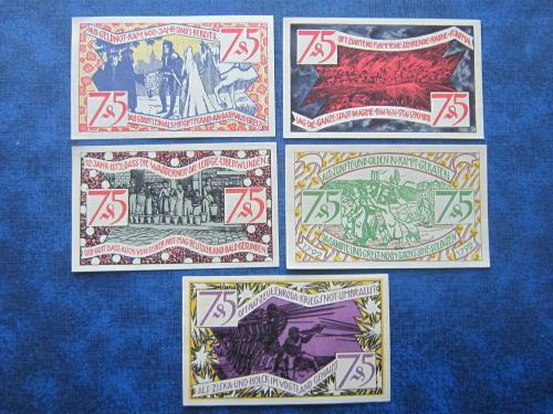 Банкноты нотгельды 75 пфеннигов Германия Цойленрода 1921 состояние 5 штук одим лотом