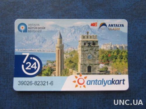 Билет на проезд в городском общественном автобусе Анталия Турция